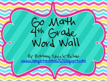 4th Grade Go Math Common Core Vocabulary Word Wall