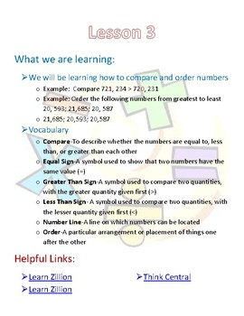 4th Grade Go Math Chapter 1 Newsletter
