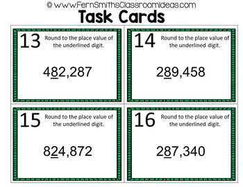 4th Grade Go Math Chapter 1 Place Value to One Million Task Cards Bundle