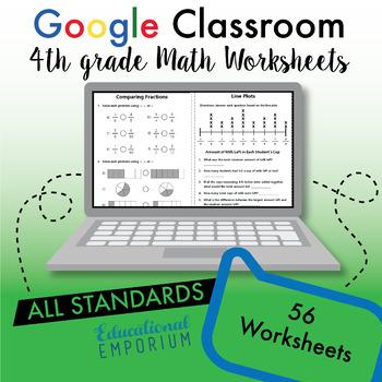 4th Grade Google Classroom Math Bundle, Interactive Digital Math Curriculum, 4th