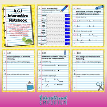 4th Grade Google Classroom Math Interactive Notebook, Digital: Geometry Domain