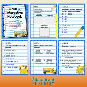 4th Grade Google Classroom Math Interactive Notebook, Digital: NBT Domain
