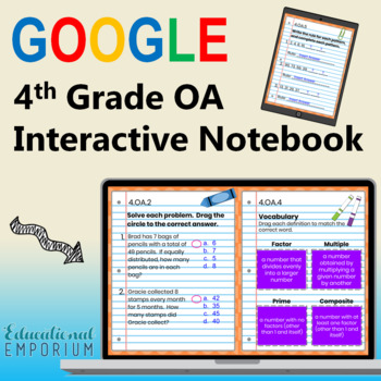 4th Grade Google Classroom Math Interactive Notebook, Digital: OA Domain