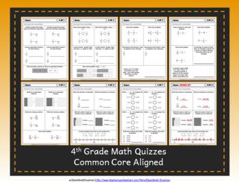 4th Grade Google Classroom Math Quizzes, Digital Math Quizzes, 4th Grade