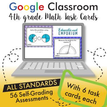 4th Grade Google Classroom Math Task Cards, Auto-Graded Task Cards, Digital