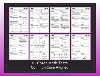 4th Grade Google Classroom Math Tests, Digital Math Tests, 4th Grade Math Tests