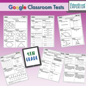 4th Grade Google Classroom Math Tests, Digital Math Tests, 4th Grade Math Tests