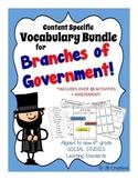 4th Grade Government Content Specific Vocabulary Activity Pack (Ohio Model)