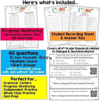 4th Grade Dialogue | Commas & Quotation Marks Game