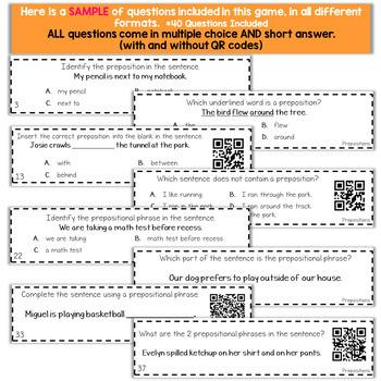 4th Grade Prepositions & Prepositional Phrases Game
