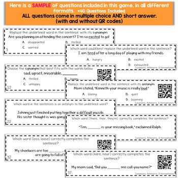 4th Grade Grammar Game | Synonyms, Antonyms, & Homophones