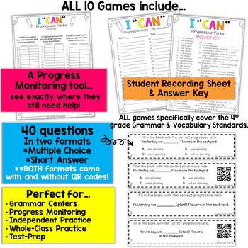 4th Grade Grammar Games 4th Grade Grammar Review BUNDLE