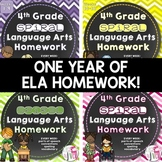 Grammar / Language Spiral Homework BUNDLE (4th Grade)