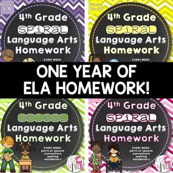 Grammar / Language Spiral Homework BUNDLE (4th Grade)