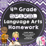 Grammar / Language Spiral Homework 4th Grade Weeks 1-9 (Distance Learning)