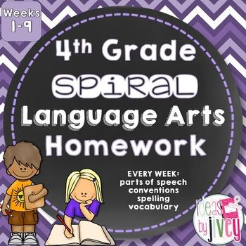 Grammar / Language Spiral Homework Weeks 1-9 (4th Grade)