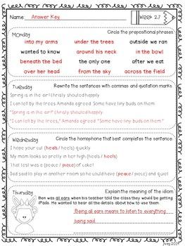 Grammar / Language Spiral Homework Weeks 19-27 (4th Grade)