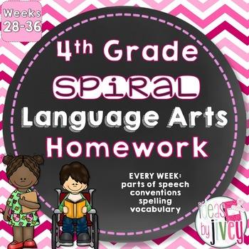 Grammar / Language Spiral Homework Weeks 28-36 (4th Grade)
