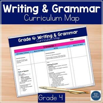 4th Grade Grammar and Writing Curriculum Map Common Core Aligned