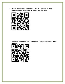 4th Grade Greek Mythology Mini-Unit - QR Code Research and Project + Rubric