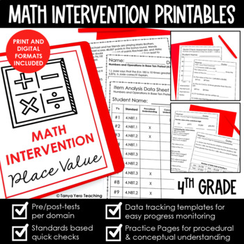 4th Grade Math Intervention Bundle MATH INTERVENTION RTI All Year All Standards