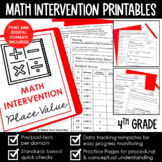Math Intervention 4th Grade Binder YEARLONG RTI BUNDLE Dis
