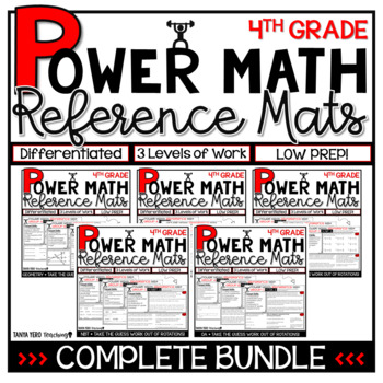 4th Grade Guided Math Reference Mats COMPLETE BUNDLE Small Groups Rotations