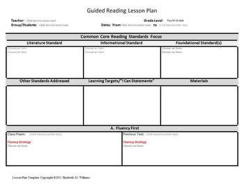 Th Grade Guided Reading GR Plus Lesson Plan Template Combo TpT - Guided reading lesson plan template 4th grade