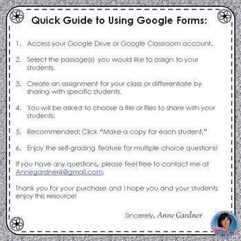 4th Grade Guided Reading Level S Passage: Google Forms™ {Reading Comprehension}