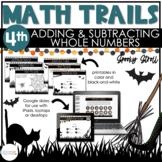 4th Grade Halloween Math Scavenger Hunt   Adding & Subtrac
