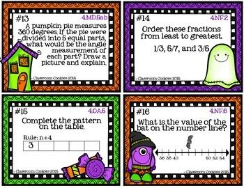 4th Grade Halloween Math Task Cards