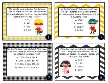 4th Grade Halloween Task Cards/Worksheets *CC.NBT* MULTIPLE CHOICE