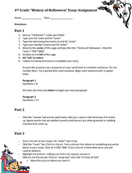 4th grade halloween web quest and essay - Halloween Web Quest