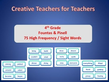 4th Grade High Frequency Sight Words