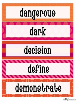 Word Wall - 4th Grade High Frequency Words: Pink and Orange Theme {SET 1}