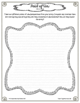 4th Grade Historical Fiction Student Response Packet