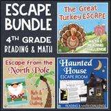 4th Grade Holiday ESCAPE ROOM Bundle - Halloween, Thanksgiving, Christmas