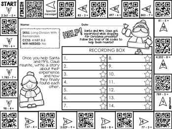 4th Grade Holiday QR Code Printables Sample FREEBIE