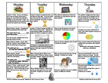 4th Grade Homework Calendar For the Year