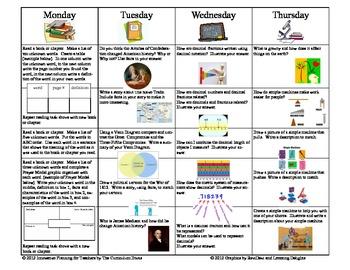 4th Grade Homework Calendar For the Year