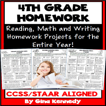 4th Grade Homework, Math, Reading and Writing Homework for the Entire Year!