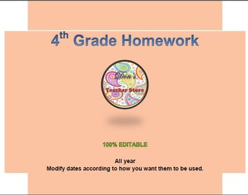 4th Grade Homework for the entire year