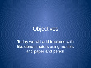 4th Grade Hought-Miff Fractions: Adding Like denominator fraction