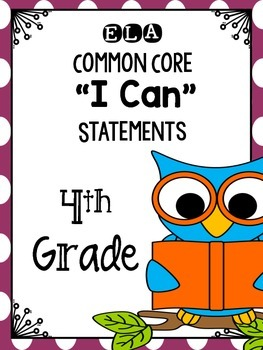 I Can Statements ELA Grade 4