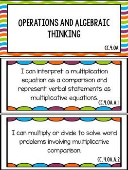 I Can Statements Math Grade 4