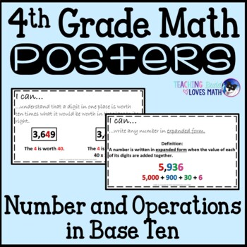 Math Posters 4th Grade Common Core Number and Operations in Base Ten