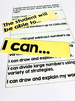 4th Grade I Can Math Statement Posters