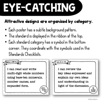 "4th Grade ""I Can"" Posters & Checklists CCSS Math & ELA Bundle"