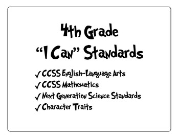 """4th Grade """"I Can"""" Standards"""