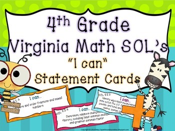 "4th Grade Virginia ""I Can"" cards- Math"